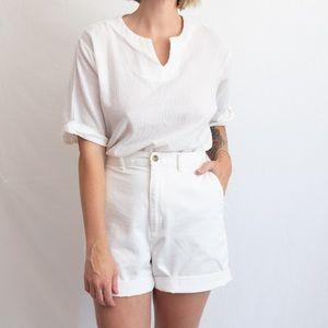 VINTAGE White Cotton Gauze-Like Blouse